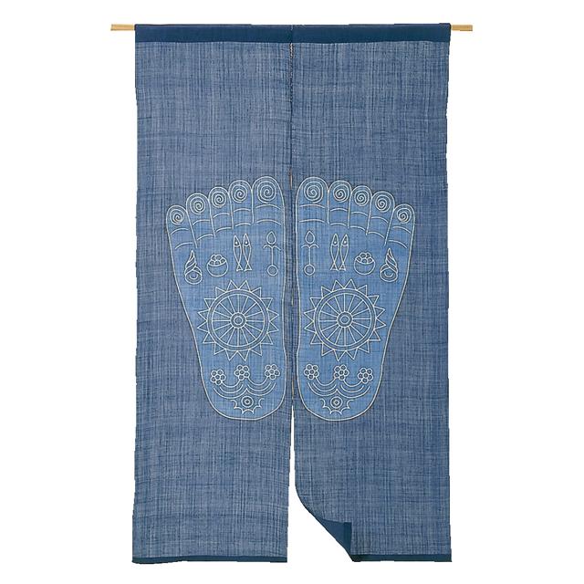藍染 麻のれん「仏足」 長尺