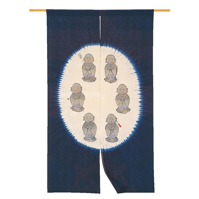 藍染 手描き綿のれん「六地蔵」 長尺