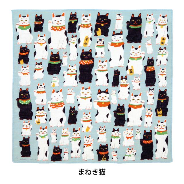 洛花 ハンカチ「まねき猫」