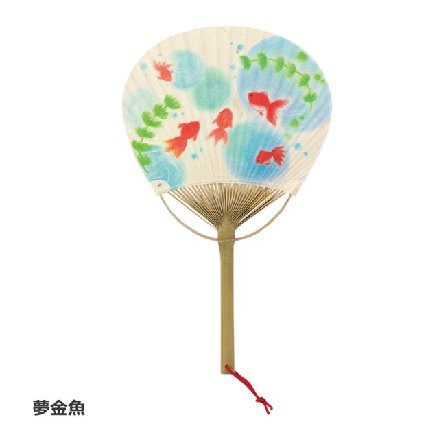 竹 短寸うちわ 夢金魚