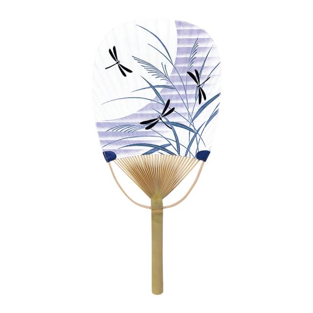 小判型 竹うちわ 月にトンボ