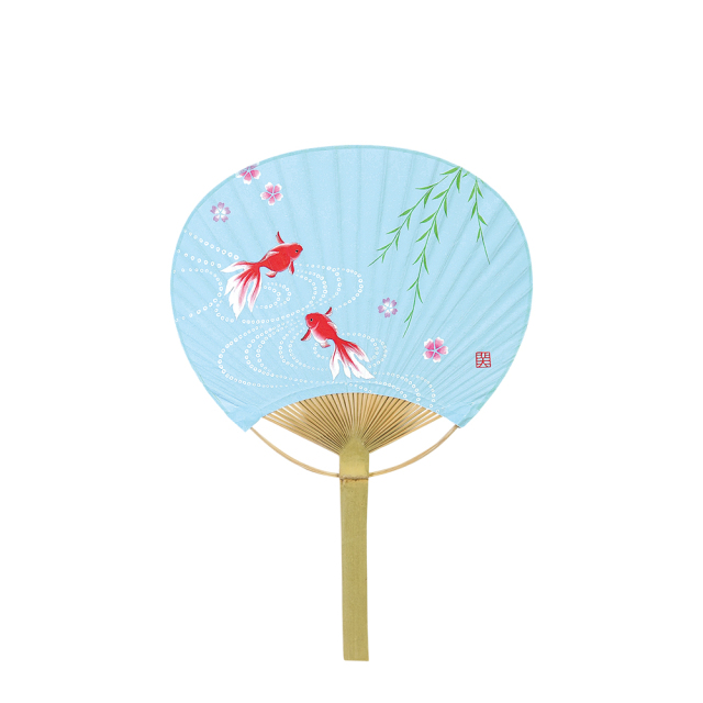 小丸型 竹うちわ 夢金魚