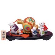 陶器製 干支置物 錦彩招福子 「福槌運び」 化粧箱入り 1個