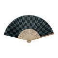 涼風布貼扇子 白竹中彫 市松 7寸