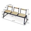 アルミ製 本堂用 長椅子 背もたれ付き 3人掛け用 2脚組