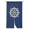 藍染 綿のれん「法輪」 長尺