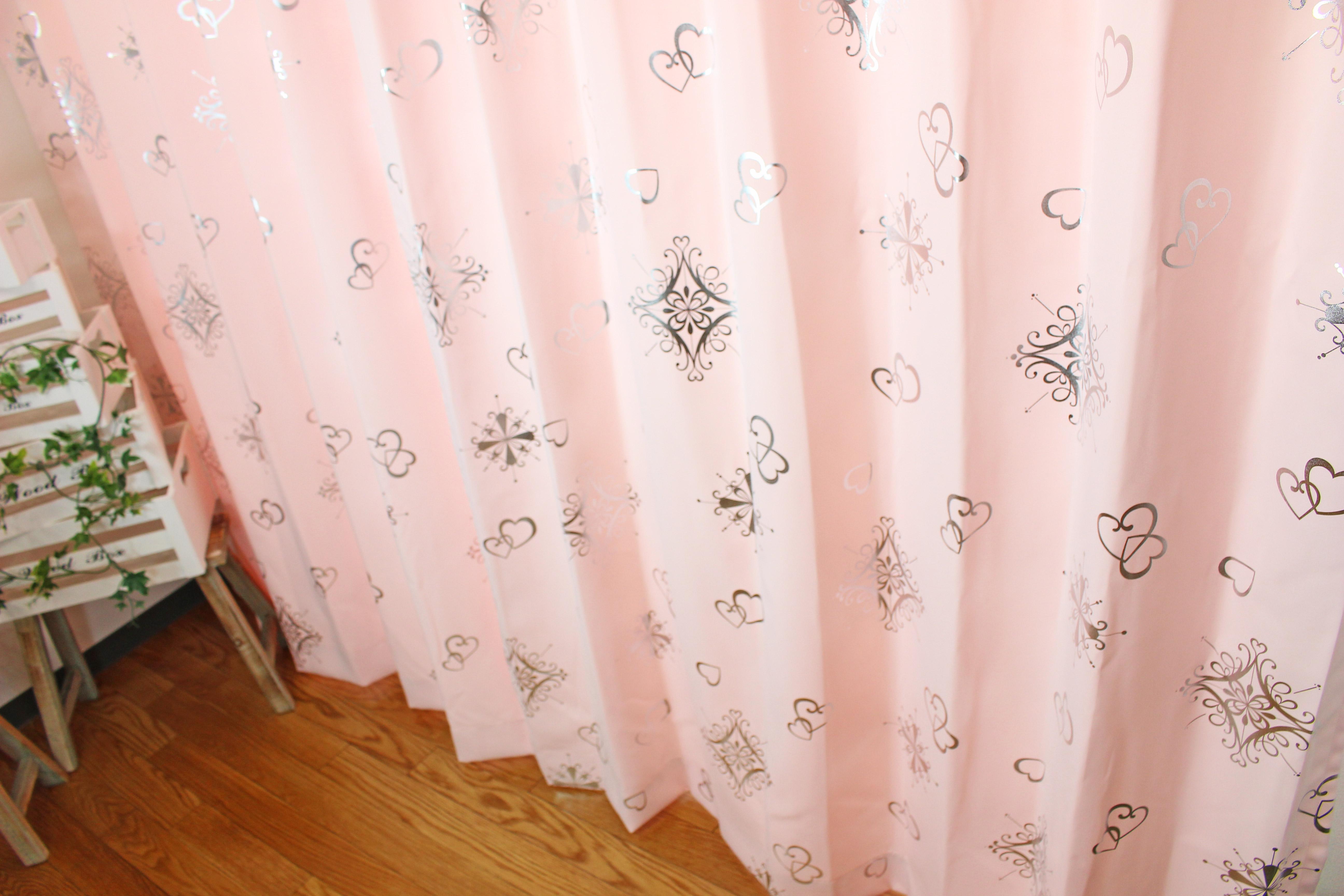 かわいいハート柄箔のカーテン|【既製品カーテン:2枚入り】アリッサ