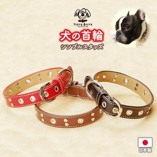 D-M  本革製ワイルドカラー中型犬用犬首輪(レザー)