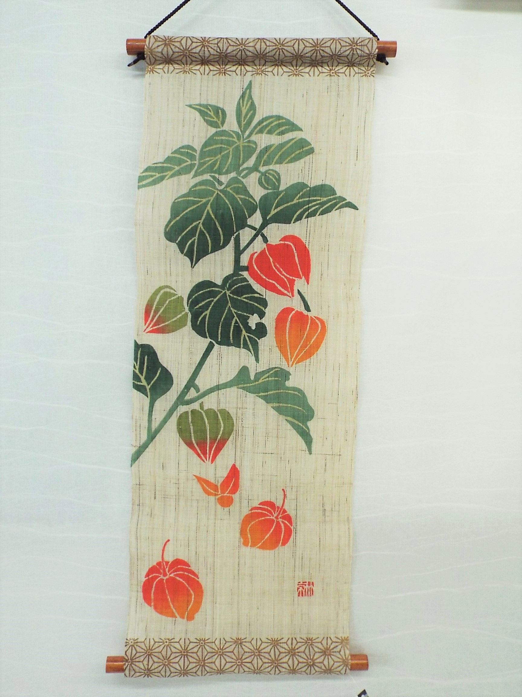 手描きミニタぺストリー 麻の葉にほおずき