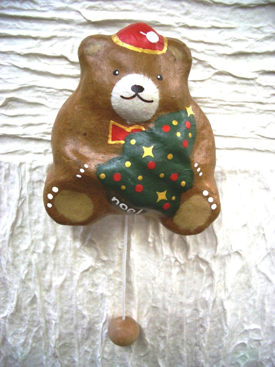 張り子オルゴール・クマとツリー