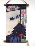 【クリスマスイブ】 くろちく 麻の型染タペストリー
