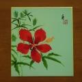 木版色紙 紅蜀葵