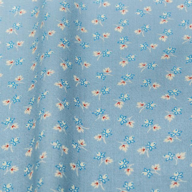 textile pantry JUNKO MATSUDA バラつぼみ スケア生地 ブルー