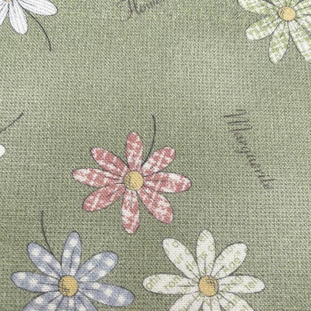 textile pantry JUNKO MATSUDA パターンマーガレット シーチング生地 グリーン
