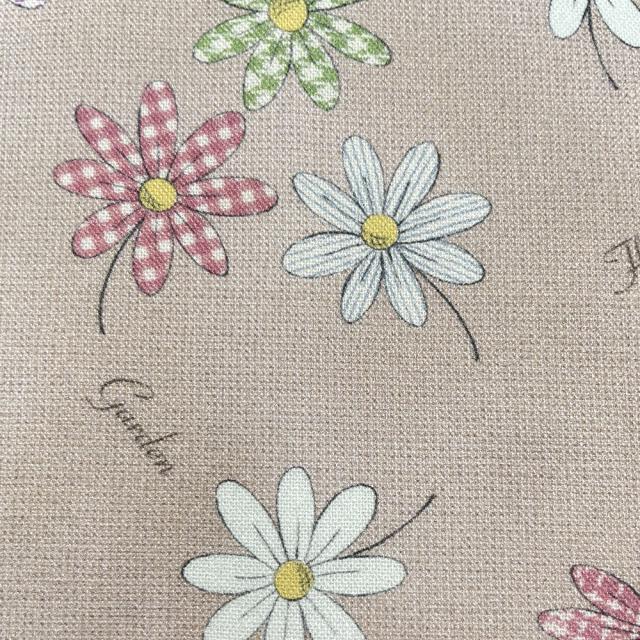 textile pantry JUNKO MATSUDA パターンマーガレット シーチング生地 ベージュ
