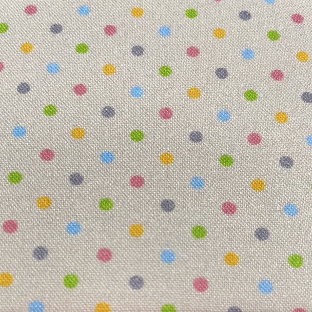 textile pantry JUNKO MATSUDA カラフルドット シーチング生地 ベージュ