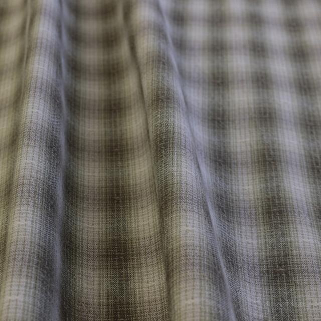 textile pantry JUNKO MATSUDA mini ombre plaid 先染めシャンブレーボーダーワッシャー加工生地 グリーン