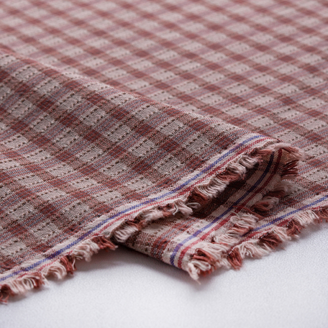 textile pantry JUNKO MATSUDA stitch country check スモークピンク