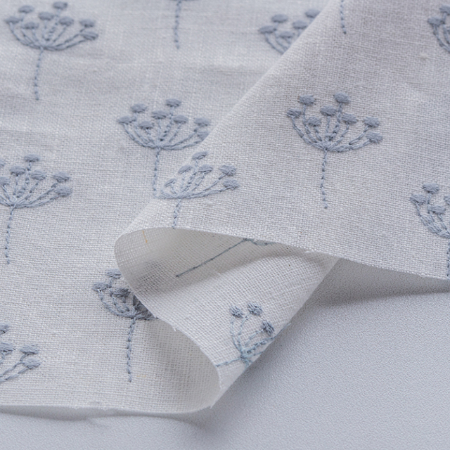 textile pantry JUNKO MATSUDA 刺繍リネンキャンバス 白