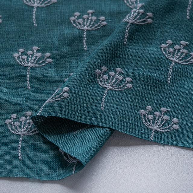 textile pantry JUNKO MATSUDA 刺繍リネンキャンバス ピーコックグリーン