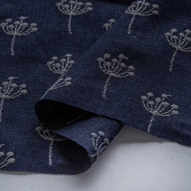 textile pantry JUNKO MATSUDA 刺繍リネンキャンバス ネイビー