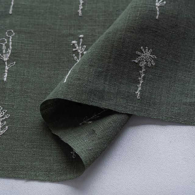 textile pantry JUNKO MATSUDA 刺繍リネンシーチング グリーン