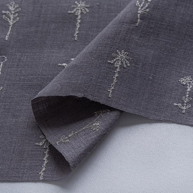 textile pantry JUNKO MATSUDA 刺繍リネンシーチング グレー