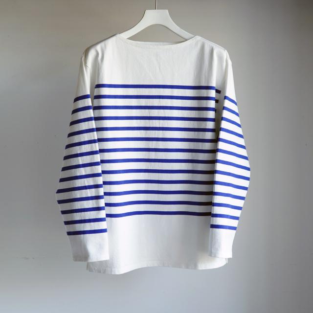 CIOTA スビンコットン 吊り天竺 パネルボーダーTee WHITE × BLUE
