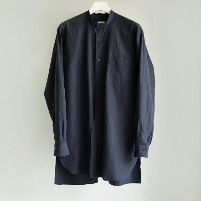 COMOLI バンドカラーシャツ NAVY