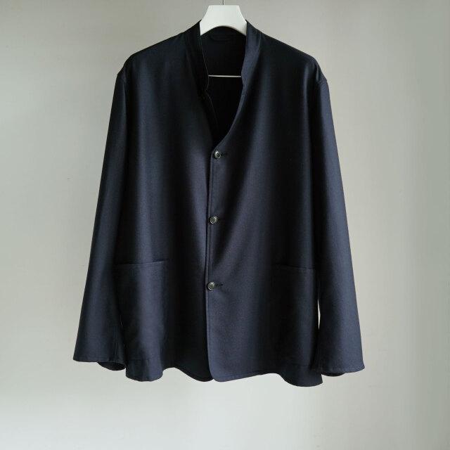 COMOLI ウールフラノ スタンドカラージャケット NAVY