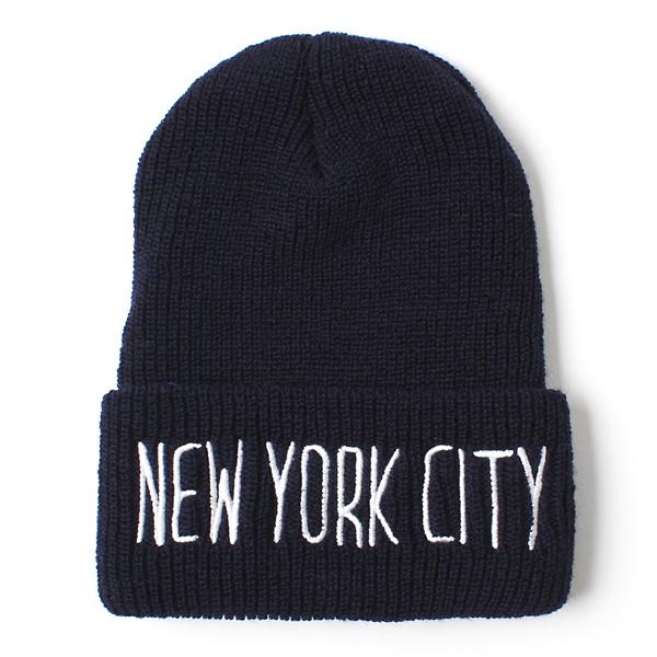 【40%OFF】【IDEAL CAP】(アイディール キャップ) ニューヨーク シティー ニット キャップ ネイビー [20466046]