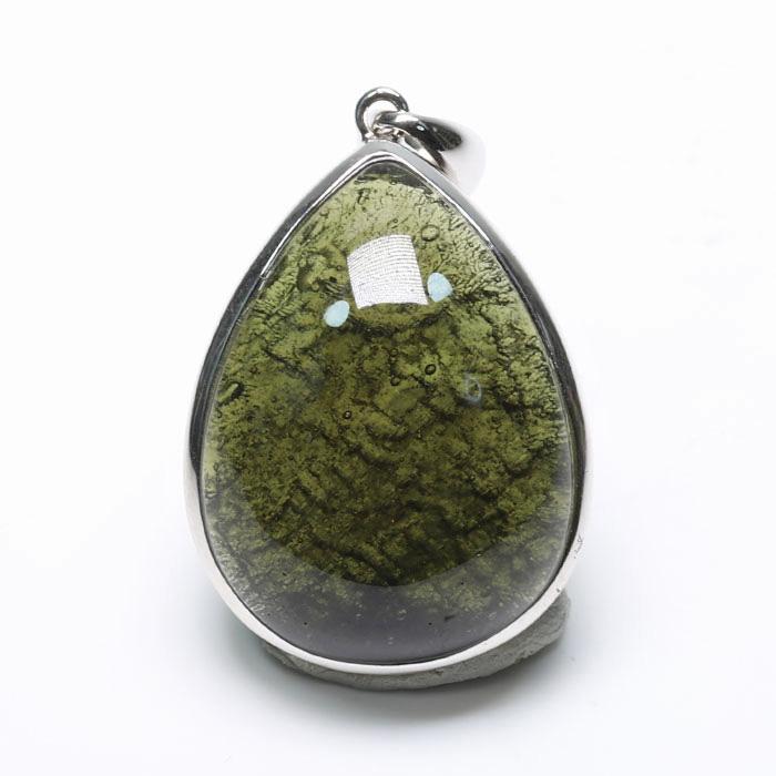 鑑別書付!モルダバイトのペンダント   07  【27.5×21.3mm】  【天然石・パワーストーン】