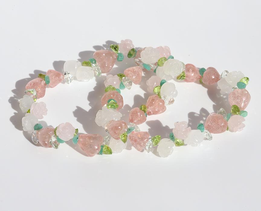 限定2個!当店オリジナル☆ストロベリークオーツの花つきいちごブレスレット