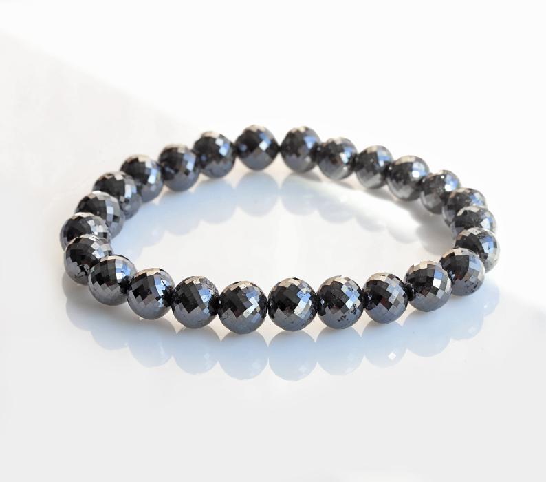 限定!最高品質ブラックダイアモンド(ダイヤモンド)SA+ランク 8.2~9.1mm   120ct  ブレスレット        5