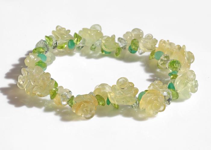 限定1個!プレナイトの花かんむりブレスレット    【イエローローズ】        /8月     Flower   【天然石・パワーストーン】