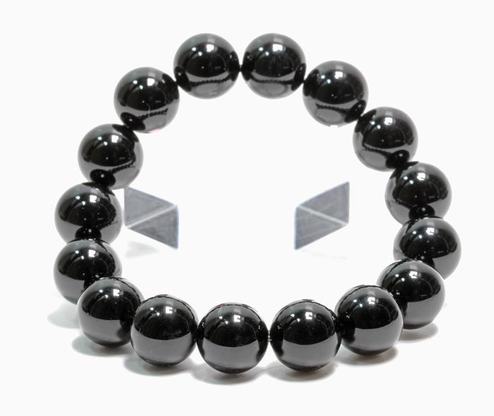 限定!お守りに黒水晶(モリオン)の12mmブレスレット    【天然石・パワーストーン】/SEO
