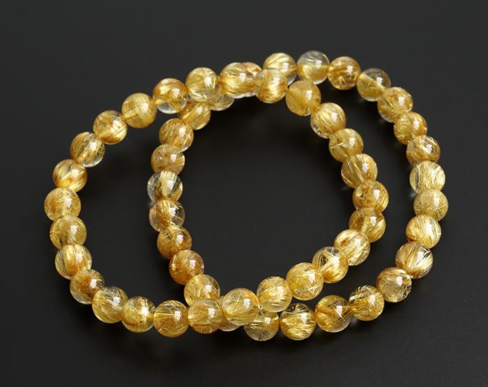 【伊勢】ゴールドタイチンルチルAAA'の7mmUP ブレスレット    【1】