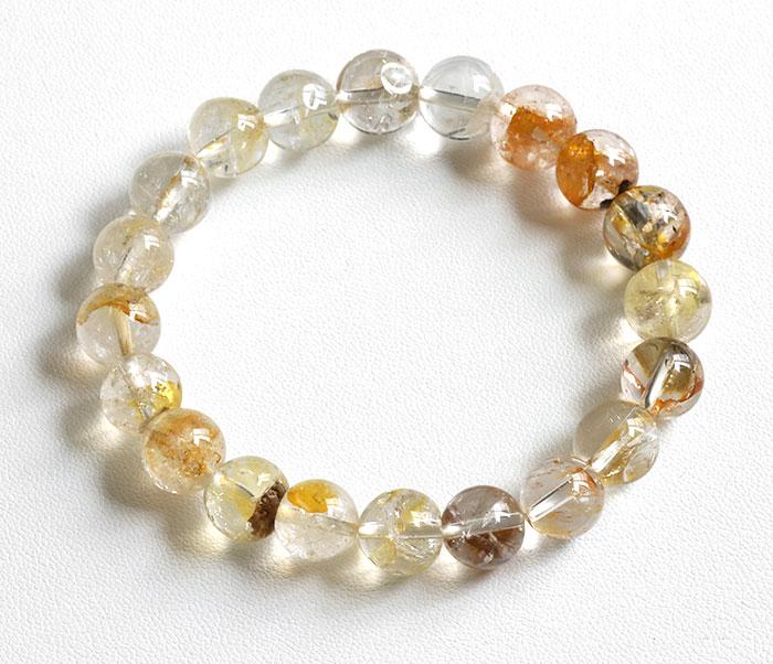 証明書付!レア!ゴールデンハーキマーダイヤモンドの9.7~10.5mmブレスレット  1 【天然石・パワーストーン】