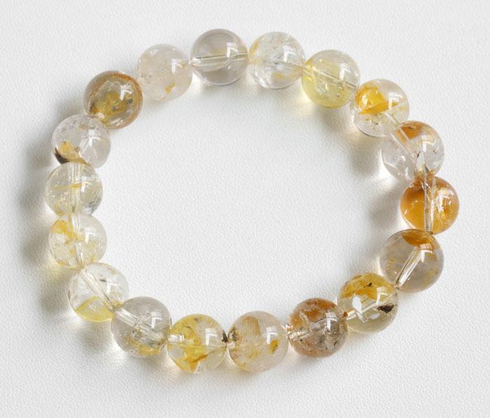 証明書付!レア!ゴールデンハーキマーダイヤモンドの11.9~11mmブレスレット   2  【天然石・パワーストーン】