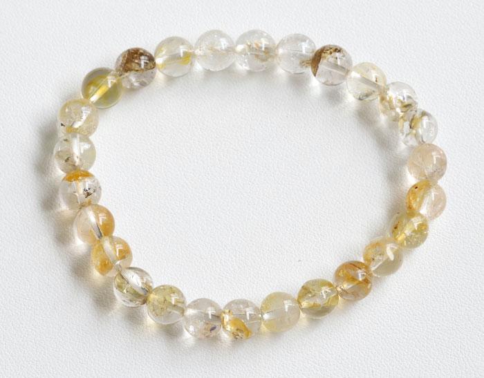 証明書付!レア!ゴールデンハーキマーダイヤモンドの7.3~7.8mmブレスレット  5【天然石・パワーストーン】