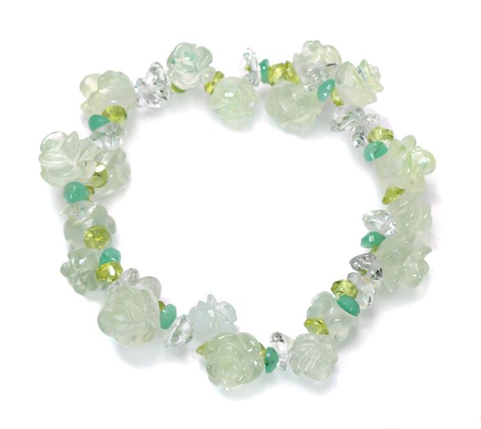 完全数量限定!年に一度のプレナイトのグリーンローズ 花かんむりブレスレット   /8     Flower【天然石・パワーストーン】