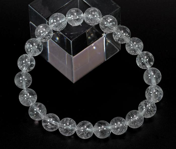超限定【証明書付】ヒマラヤ・ネパール産のアンナプルナ水晶8mmブレス  【ハーフミルキータイプ】   /4月【天然石・パワーストーン】