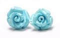 限定!スリーピングビューティー産ターコイズの手彫り薔薇ピアス《3》 /EG/12【パワーストーン・天然石】