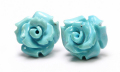 限定!スリーピングビューティー産ターコイズの手彫り薔薇ピアス《5》 /EG/12【パワーストーン・天然石】