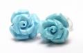 限定!スリーピングビューティー産ターコイズの手彫り薔薇ピアス《4》 /EG/12【パワーストーン・天然石】