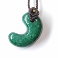 【まくらめ編み】グリーンアベンチュリンのSAの勾玉ペンダント BROWN  1   【パワーストーン/天然石】
