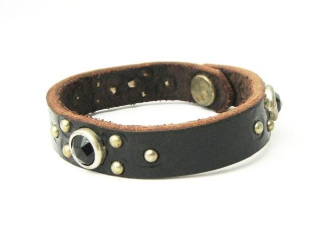 正規取扱HTC(Hollywood Trading Company) #B Narrow Bracelet(ナロウブレスレット) ブラックストーン×ブラックレザー