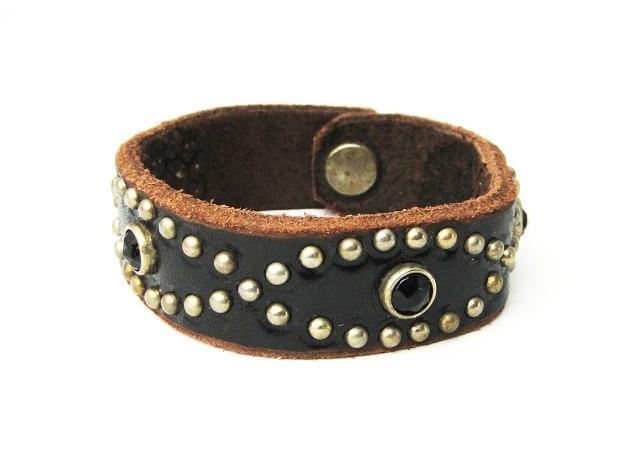 正規取扱HTC(Hollywood Trading Company) #D Rhinestone  Bracelet(ラインストーンブレスレット) ブラックストーン×ブラックレザー