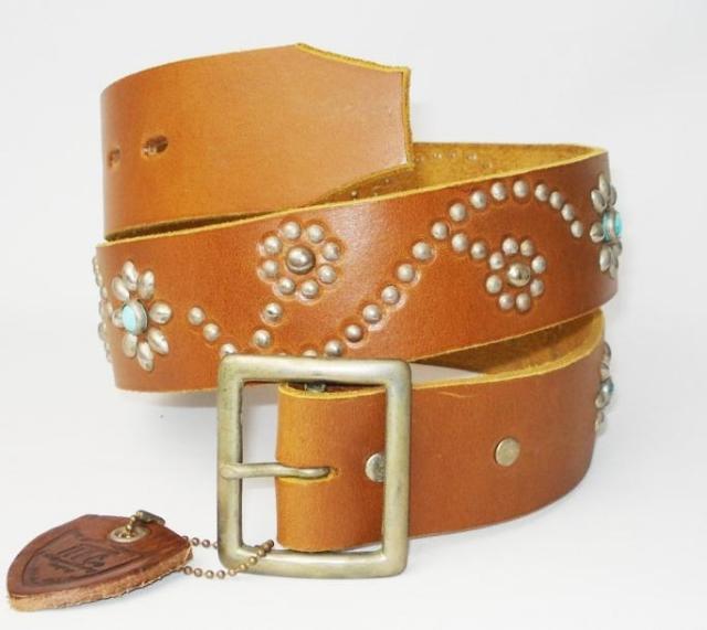 正規取扱HTC(Hollywood Trading Company)  ST125 Turquoise Flower Belt(ターコイズフラワーベルト) ライトブラウン