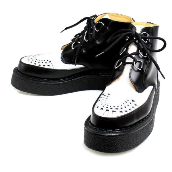 正規取扱 George Cox(ジョージコックス)  13327 VI Sole  CHUKKA チャッカ  Black Leather Whtie Leather